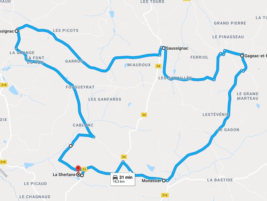Circuit Gageac/Saussignac/Razac